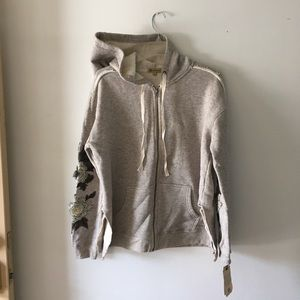 NWT Democracy Fleece Lined Gray Hoodie